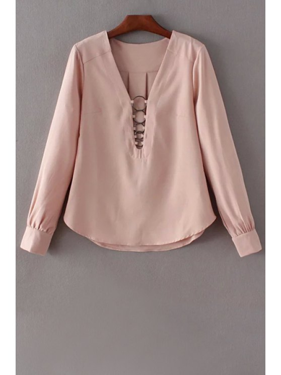 outfits Solid Color Long Sleeve Plunging Neck Blouse - PINK M