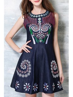 Embroidered A-Line Chambray Dress - Deep Blue S