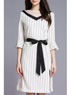 Striped Side Vent Contrast Belt Dress - White Xl