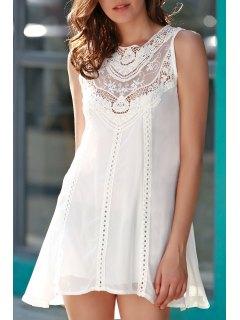 Spliced Openwork White Chiffon Dress - White L