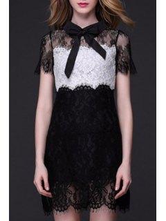 See-Through Color Block Lace Dress - Black Xl