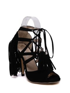 Lace-Up Peep Toe Fringe Sandals - Black 38