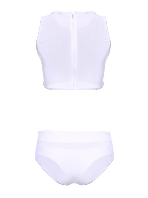 buy Mesh Design High-Waisted Transparent Swimsuit - WHITE M Mobile
