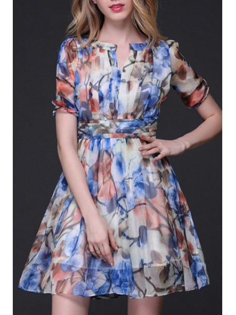 shop Printed Crinkly Chiffon Waisted Dress - BLUE L Mobile