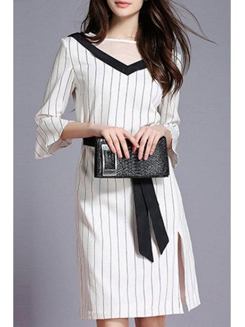 trendy Striped Side Vent Contrast Belt Dress - WHITE XL Mobile