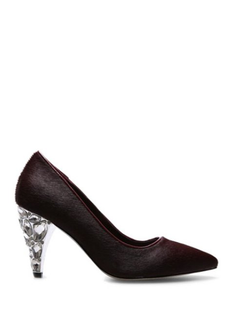 hot Rhinestone Horsehair Pointed Toe Pumps - WINE RED 39 Mobile