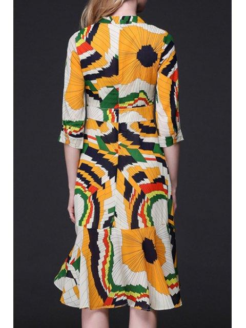 buy Geometric Print Flouncy Ruffle Hem Dress - COLORMIX L Mobile