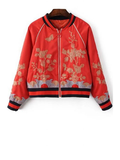fashion Floral Embroidered Stand Neck Long Sleeve Jacket - RED L Mobile