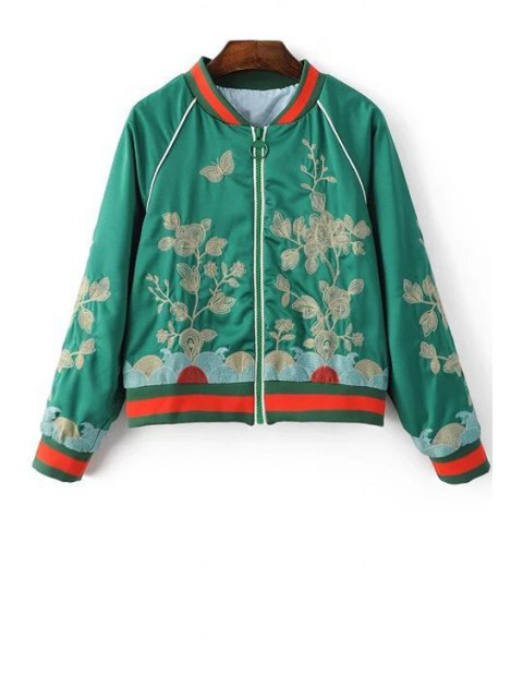shops Floral Embroidered Stand Neck Long Sleeve Jacket - GREEN M Mobile
