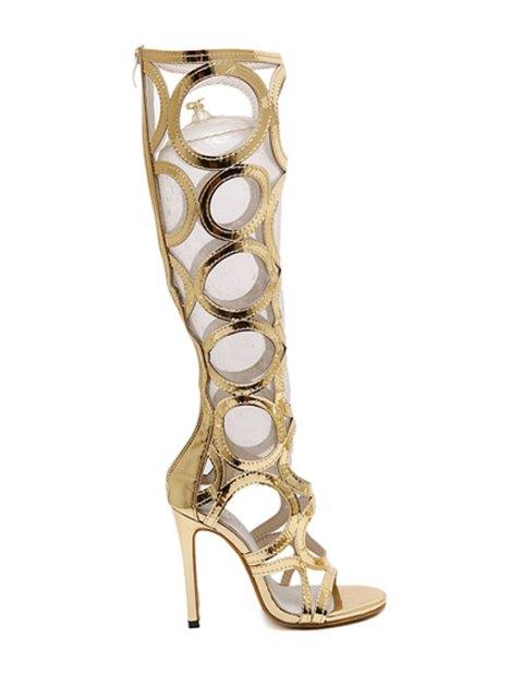 fancy Stiletto Heel Hollow Out Solid Color Sandals - GOLDEN 35 Mobile