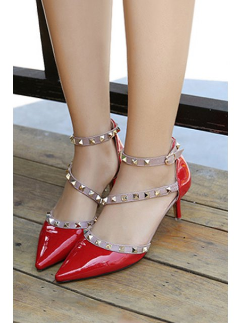 affordable Pointed Toe Rivet Color Block Pumps - RED 37 Mobile