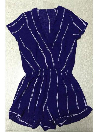Cross-Over Collar Striped Playsuit - Purplish Blue
