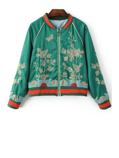 Floral Embroidered Stand Neck Long Sleeve Jacket - GREEN M Mobile