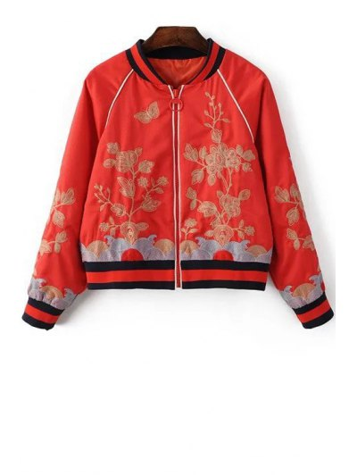Floral Embroidered Stand Neck Long Sleeve Jacket - RED L Mobile