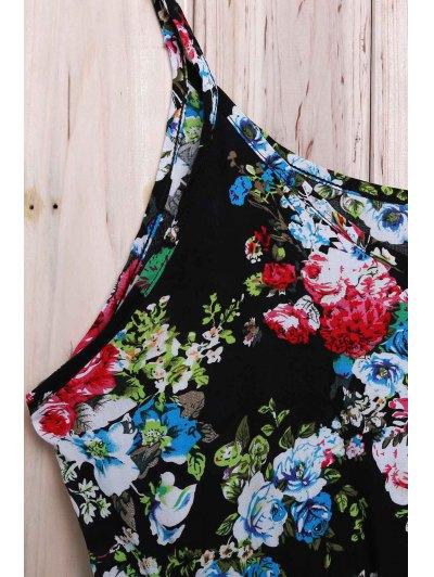 Spaghetti Strap Laciness Floral Romper - BLACK L Mobile