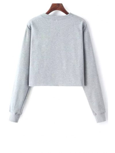 Alien Embroidered Cropped Sweatshirt - LIGHT GRAY ONE SIZE(FIT SIZE XS TO M) Mobile