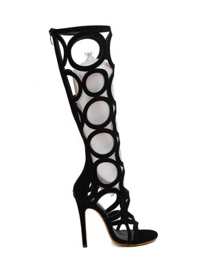 Knee-High Hollow Out Black Sandals - Black
