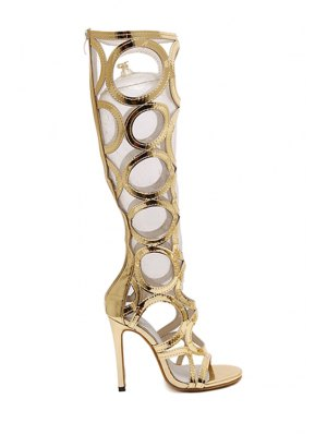 Stiletto Heel Hollow Out Solid Color Sandals - Golden