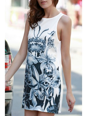 Floral Print A-Line Tank Dress - White M