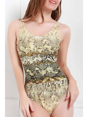 Scoop Neck Snake Print One-Piece Swimwear