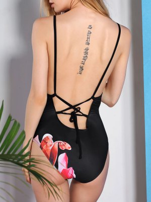 Vintage Flower Printed Back Criss-Cross One-Piece Swimwear For Women - Black