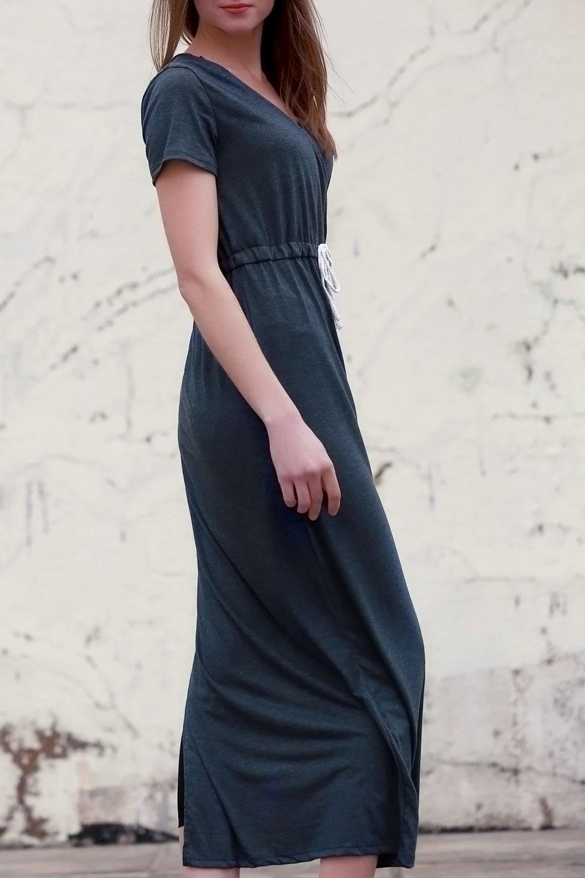 V Neck Short Sleeve Deep Gray Maxi Dress