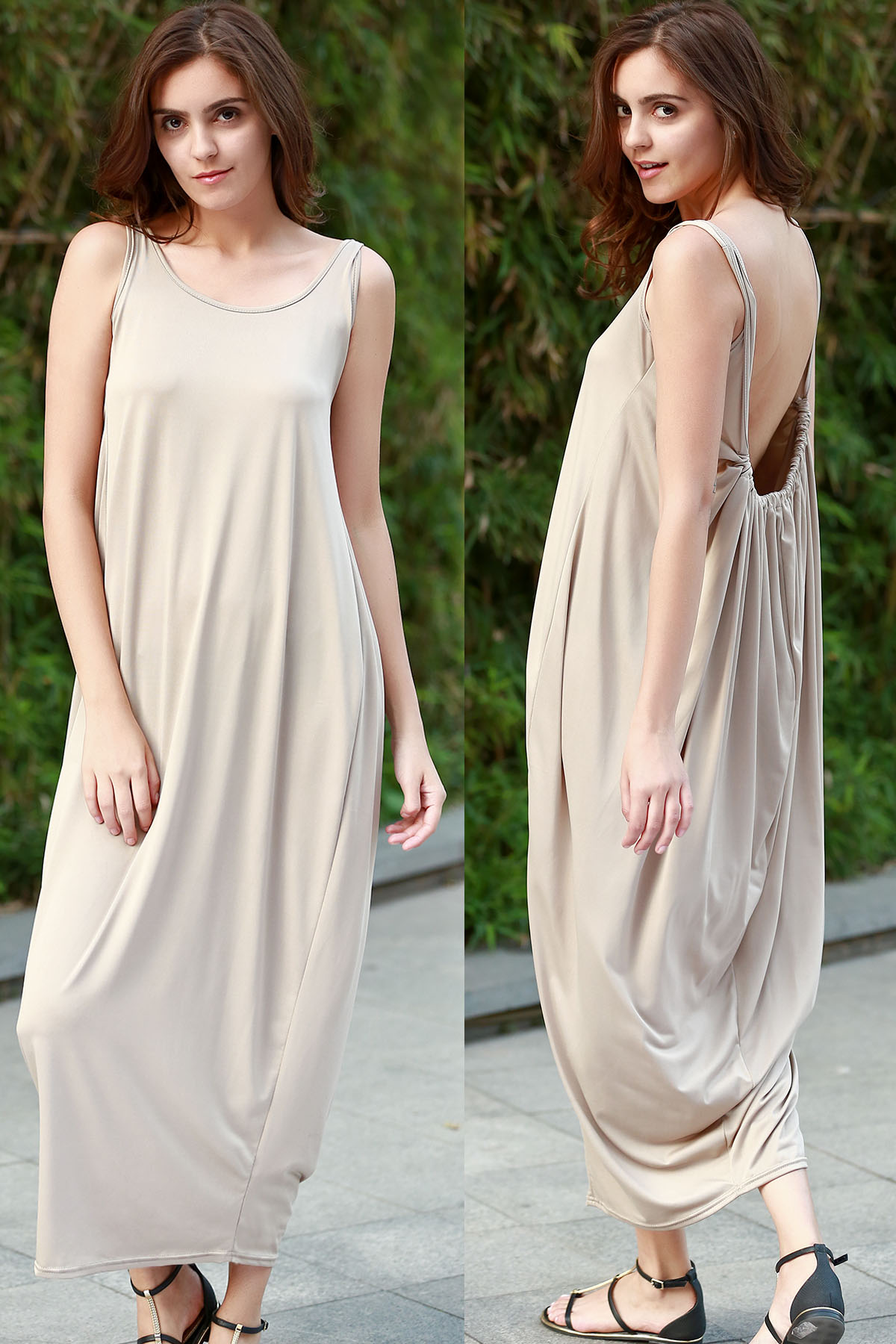 Scoop Neck Sleeveless Solid Color Backless Maxi Sundress