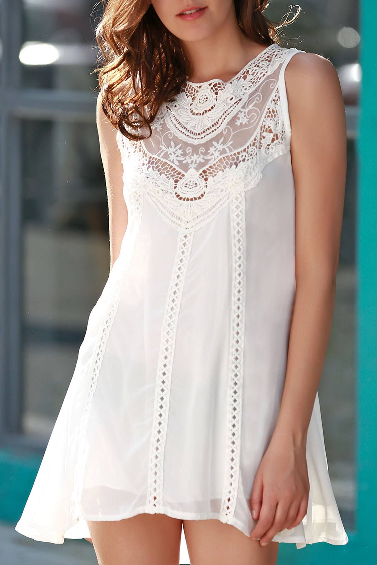 Jewel Neck Sleeveless Spliced Openwork White Chiffon Dress