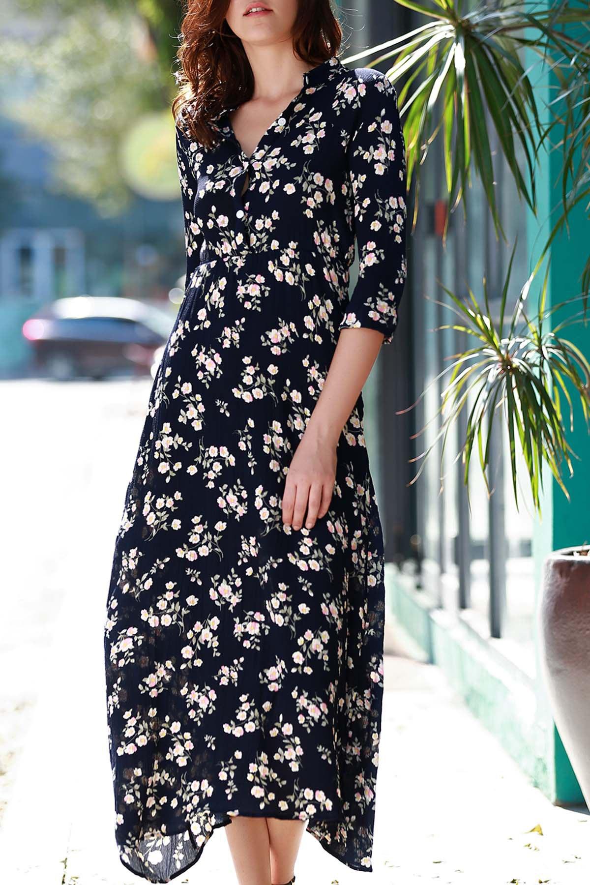 Floral Printed 3/4 Sleeve Dress - BLACK S