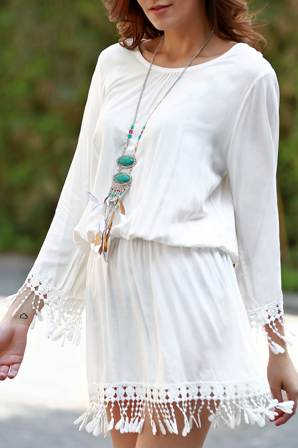White Scoop Neck Long Sleeve Cover Up - WHITE ONE SIZE(FIT SIZE XS TO M)