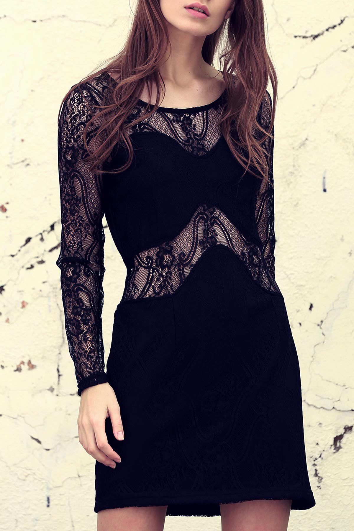 Long Sleeves Solid Color Lace Spliced See-Through Dress