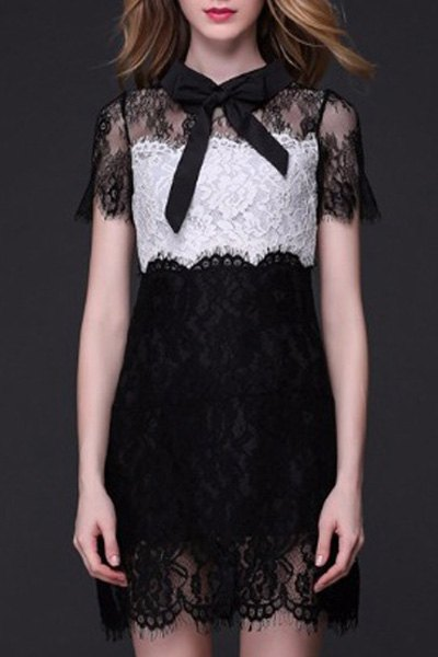 See Through Color Block Lace Dress 177176203