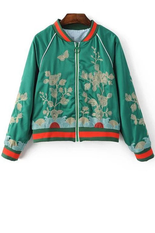Floral Embroidered Stand Neck Long Sleeve Jacket GREEN