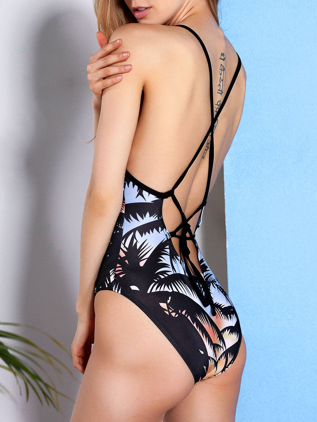 Strappy Palm Tree Print Swimsuit