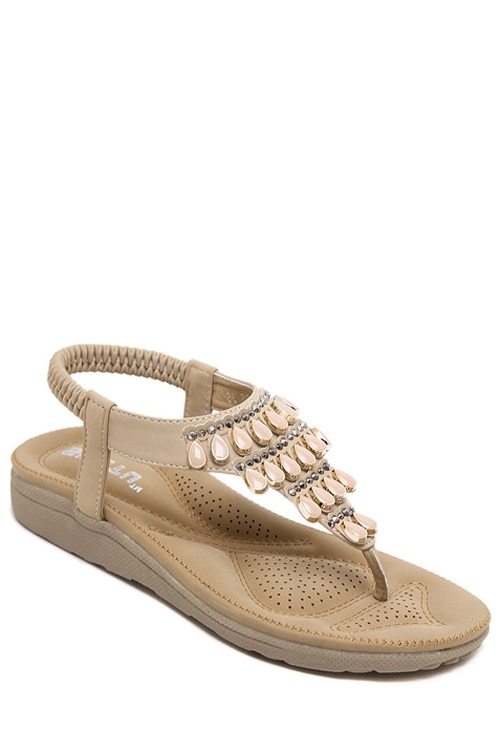 Flat Heel Beading Elastic Sandals