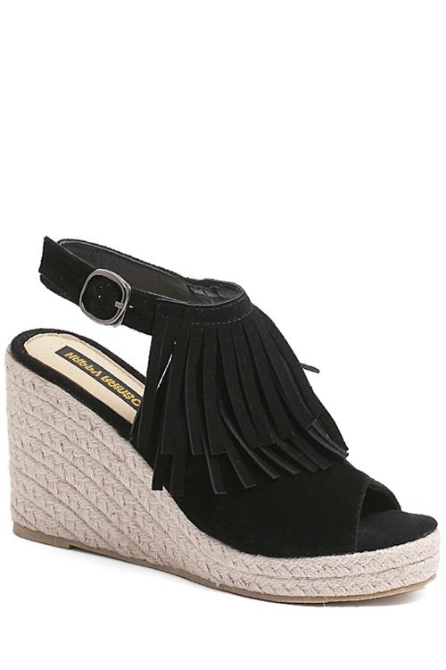 Fringe Peep Toe Wedge Heel Sandals