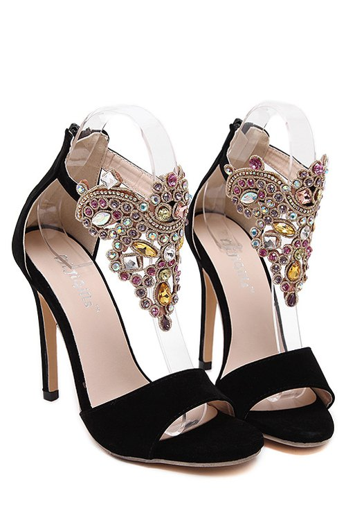 Flock Stiletto Heel Colorful Rhinestone Sandals - BLACK 40