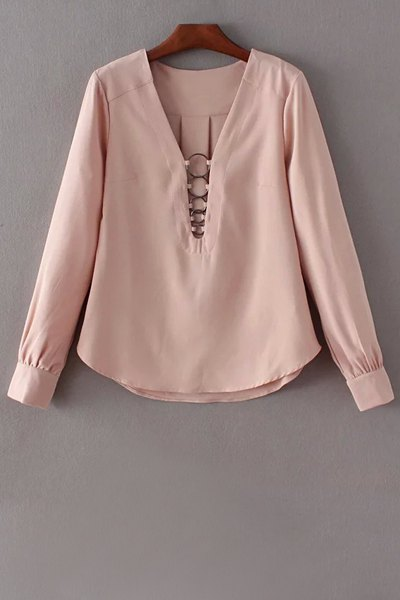 Plunging Neck Long Sleeve Solid Color Blouse