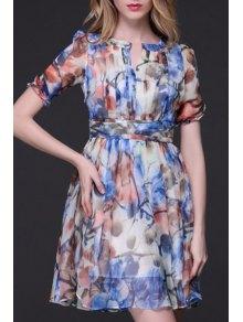 Printed Crinkly Chiffon Waisted Dress - Blue L