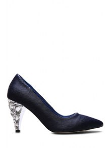 Buy Rhinestone Horsehair Pointed Toe Pumps 37 BLUE