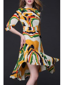 Geometric Print Flouncy Ruffle Hem Dress
