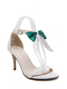 Buy Bowknot Stiletto Heel Ankle Strap Sandals 34 GREEN
