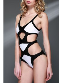 Buy Color Block Bandage One-Piece Swimwear - WHITE AND BLACK L