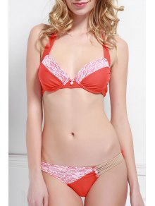 Halter Lace Spliced Bikini Set - Orange L