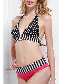 Stripe Polka Dot Color Block Bikini Set - Black And White And Red L
