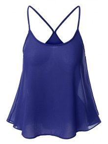 Candy-Colored Chiffon Cami Top - Sapphire Blue Xl