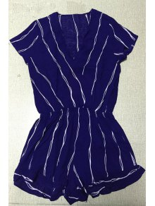 Cross-Over Collar Striped Playsuit - Purplish Blue