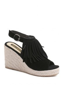 Fringe Peep Toe Wedge Heel Sandals - Black 38