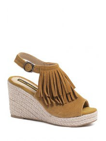 Fringe Peep Toe Wedge Heel Sandals - Brown 39