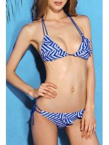 Stripe Ruffles Halter Bikini Set